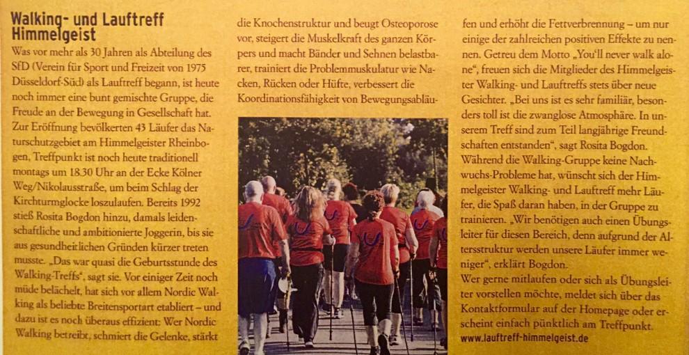 """Artikel in der Zeitschrift """"Düsseldorf lebt gesund! 2015/2016"""""""